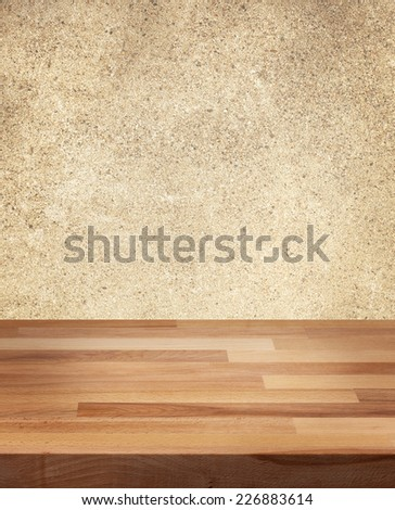 Product photo template wooden table coarse wall background - stock photo