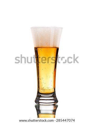 Product photograph of a cold beer on a white background