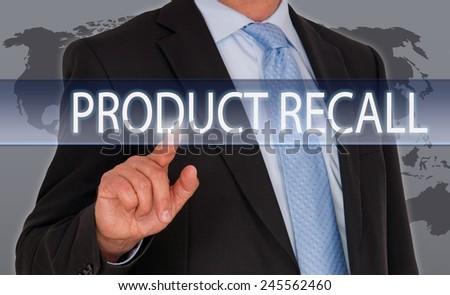 Product Recall - Businessman with touchscreen - stock photo