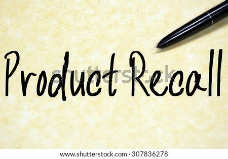 product recall text write on paper  - stock photo