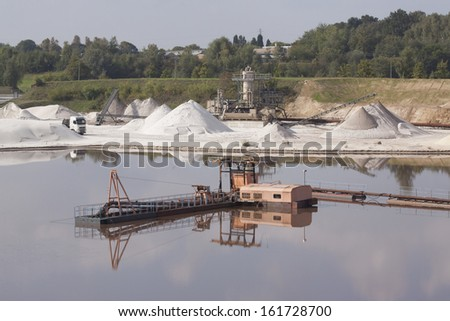 Production and digging of sand in Limburg, Holland - stock photo
