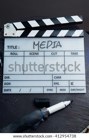 Production clapperboard media design background Hollywood  - stock photo