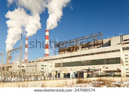 Production line in thermal power plant - stock photo
