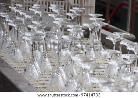 production line of glass - stock photo