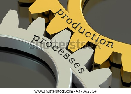 production processes concept on the gearwheels, 3D rendering - stock photo