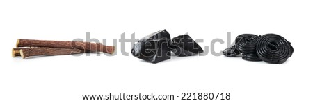 Production steps of licorice, roots, pure blocks and candy on white background. - stock photo