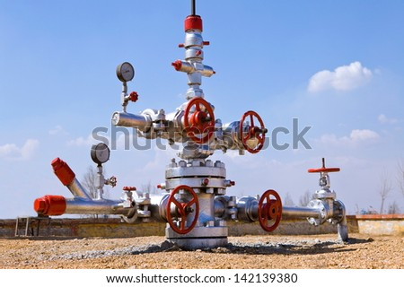 production wellhead - stock photo