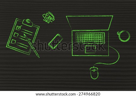 productive work: laptop, phone, coffee and list of task on a desk - stock photo