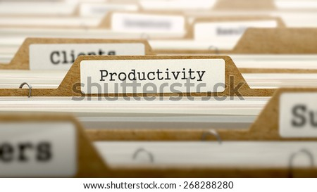 Productivity Concept. Word on Folder Register of Card Index. Selective Focus.