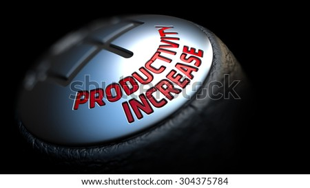Productivity Increase. Shift Knob with Red Text on Black Background. Close Up View. Selective Focus. 3D Render. - stock photo