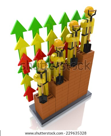 Productivity progress growth in the construction industry - professional growth - stock photo