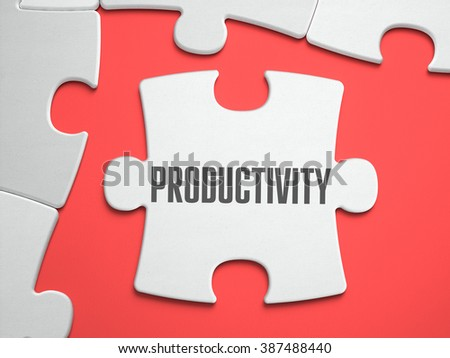 Productivity - Text on Puzzle on the Place of Missing Pieces. Scarlett Background. Closeup. 3d Illustration. - stock photo