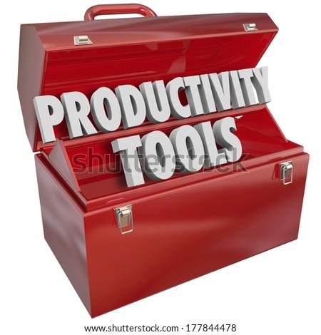 Productivity Tools Words Toolbox Learn Efficiency Skills - stock photo