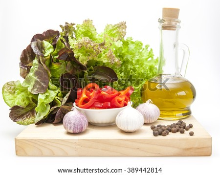 Products and kitchen utensils for cooking of salad from fresh vegetables - stock photo