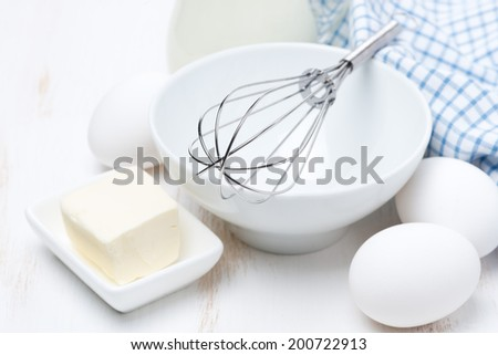 products and tools for baking pancakes, horizontal