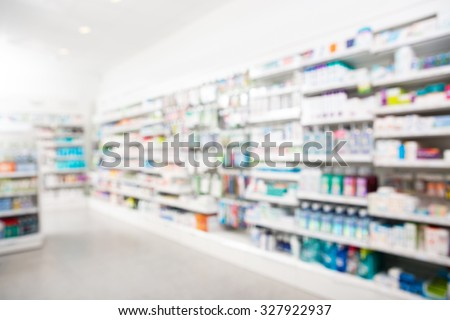 Products arranged in shelves at pharmacy