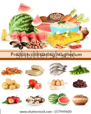 Products containing magnesium - stock photo