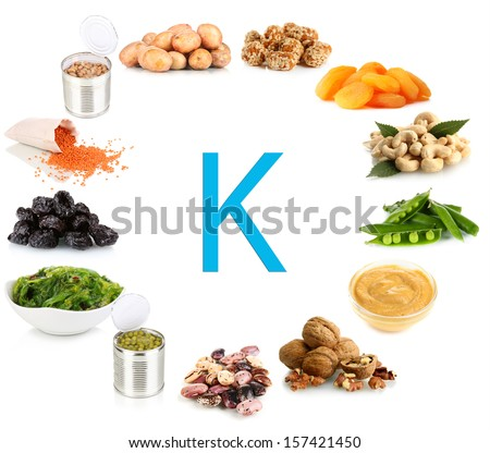 Products containing potassium - stock photo
