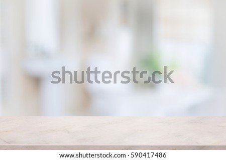 Empty Pink Marble Top Table For Product Display With Blurred Bathroom  Interior