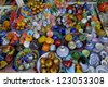 Products for Arab tourists on a stand of the souk - stock photo