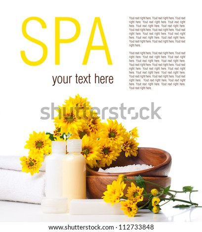 Products for body care, spa and hygiene on a white background, ready template