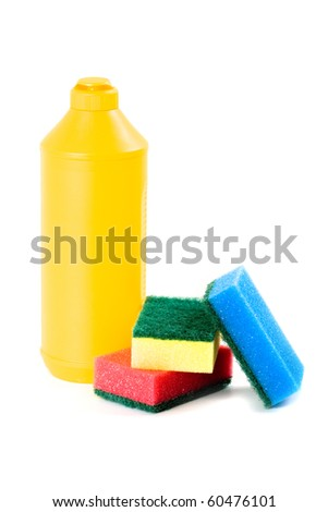 products for cleaning isolated on white background