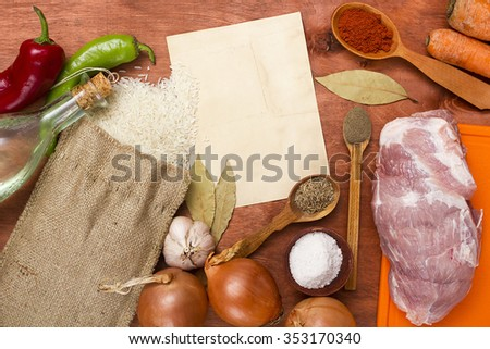 Products for cooking the preparation of pilaf with meat. - stock photo