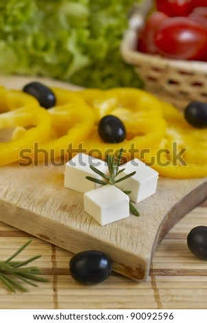Products for salad preparation - stock photo