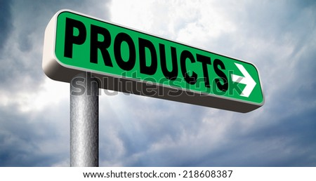 Products for sale at online internet web shop, webshop catalog