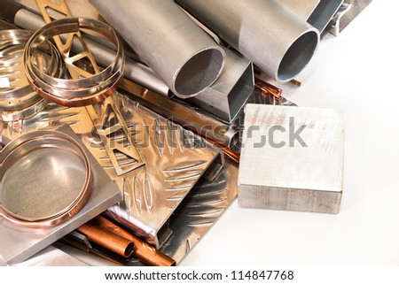 Products made from aluminum, bronze, copper, brass, on a white background