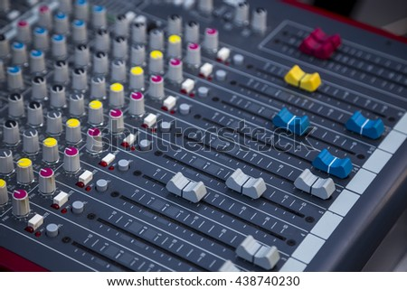 Profesional studio equipment for sound mixing  .