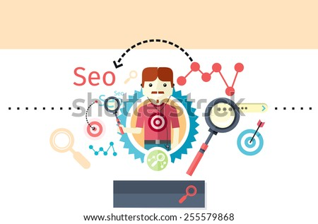Profession concept with expert of search engine optimization seo and business development. Analytics information and management resources, growth charts and graphs in flat design style. Raster version - stock photo