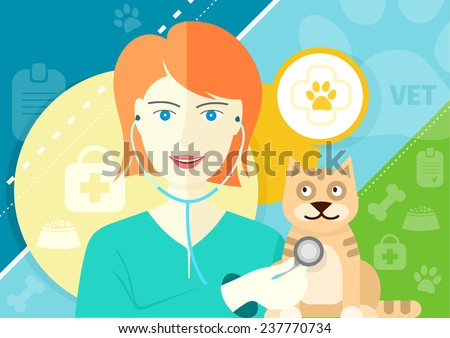 Profession concept with female veterinarian checking the heartbeat of red cat with stethoscope in vet clinic. Raster version - stock photo