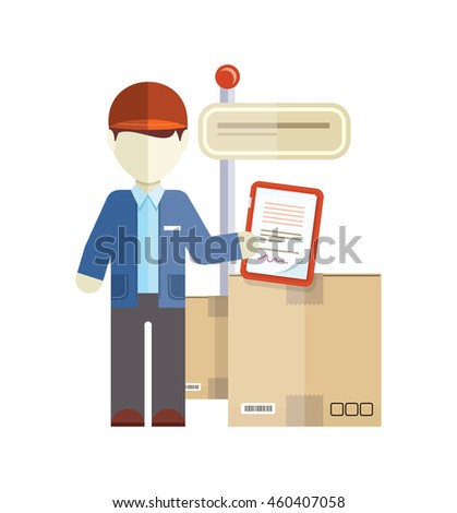 Profession courier with box. Delivery man, delivery icon, free delivery, delivery parcel, service delivery, person profession character courier postman  illustration - stock photo