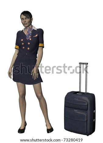 Professional air hostess/flight attendant/stewardess with travel case