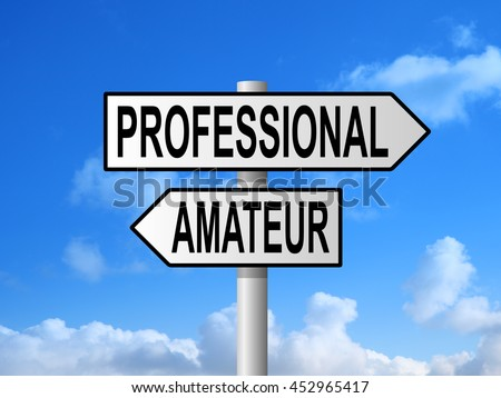 Professional and amateur road sign post against blue sky