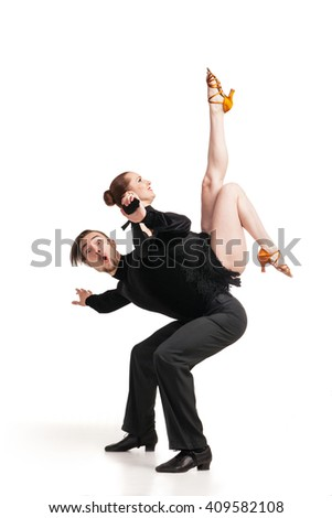 professional artists dancing over white - stock photo