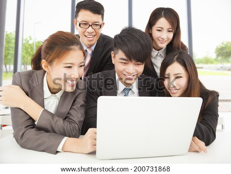 professional asian business team working in office - stock photo