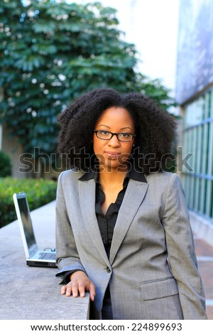 Professional Attractive African American Business Person Woman With Black Hair Laptop Wearing Glasses