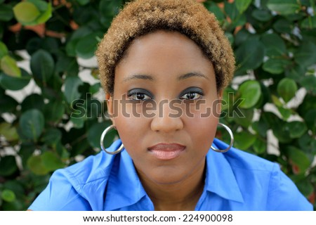 Professional Attractive African American Business Person Woman With Black Hair Serious and Unhappy - stock photo
