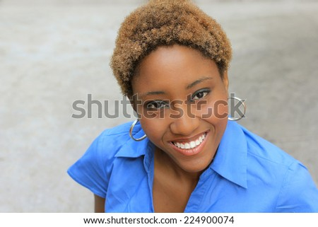 Professional Attractive African American Business Person Woman With Black Hair Smiling and Happy Smiling and Showing Teeth - stock photo