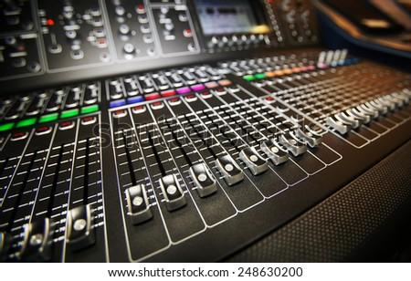 Professional audio mixing console radio / TV broadcasting - stock photo