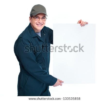 Professional Auto mechanic. Isolated on white background. - stock photo
