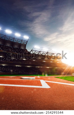 Professional baseball grand arena in the sunlight - stock photo