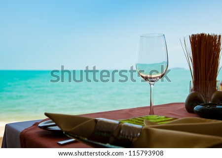 Professional beach restaurant serving - stock photo