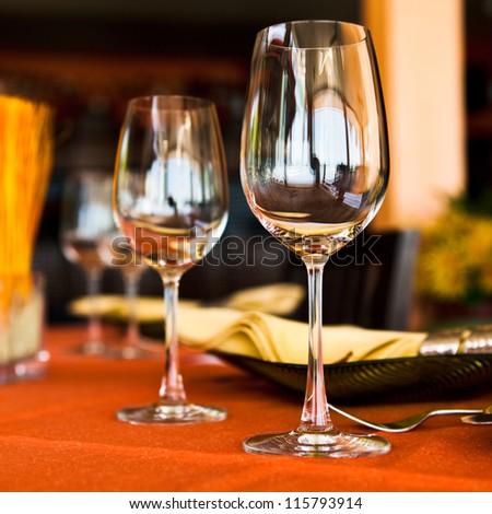 Professional beach restaurant serving - stock photo