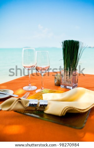 Professional beach restaurant serving