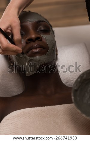 Professional beautician applying mud mask to african woman at spa salon - stock photo