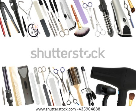 Professional Beauty Salon and Barber shop Equipment Isolated on White Background - stock photo