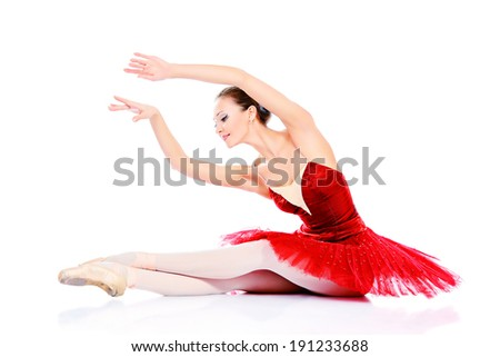 Professional bellet dancer posing at studio. Isolated over white background.  - stock photo